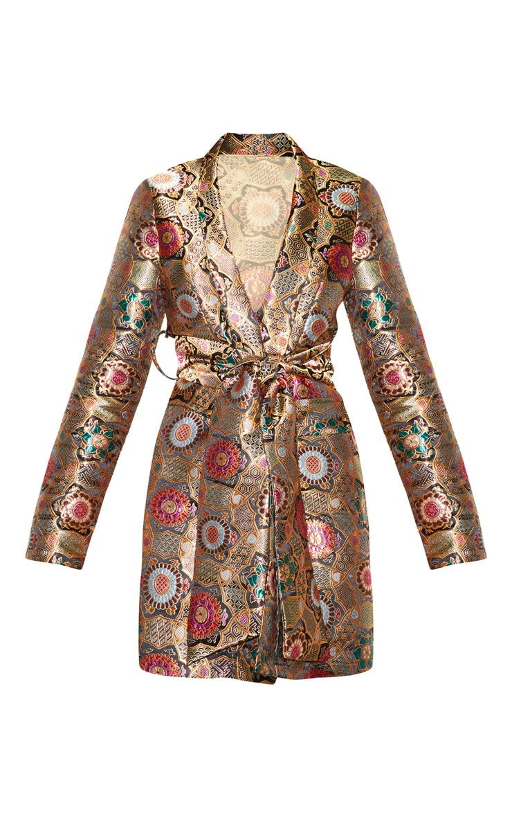 Robe blazer à imprimé jacquard oriental multicolore 4