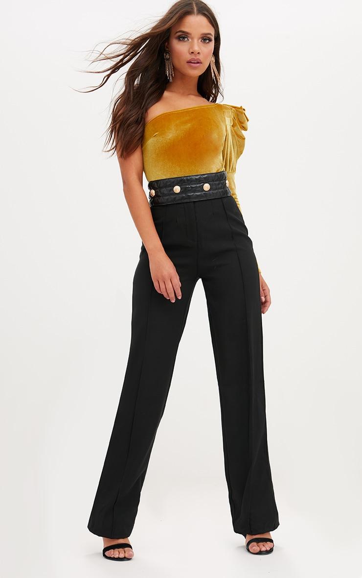 Mustard Velvet Puff One Shoulder Thong Bodysuit 5