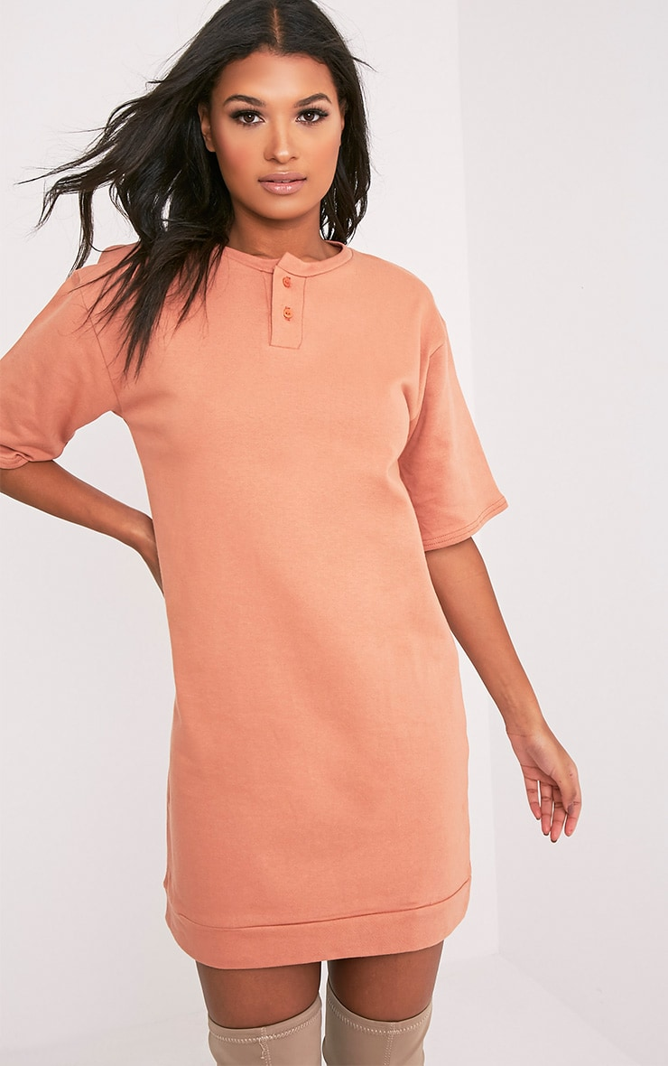 Anabelle Deep Peach Button Up Sweater Dress 1