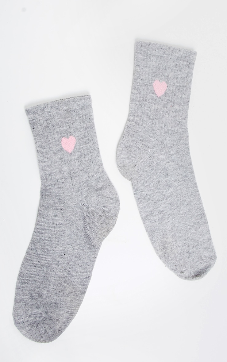 Grey Heart Knitted Socks 3