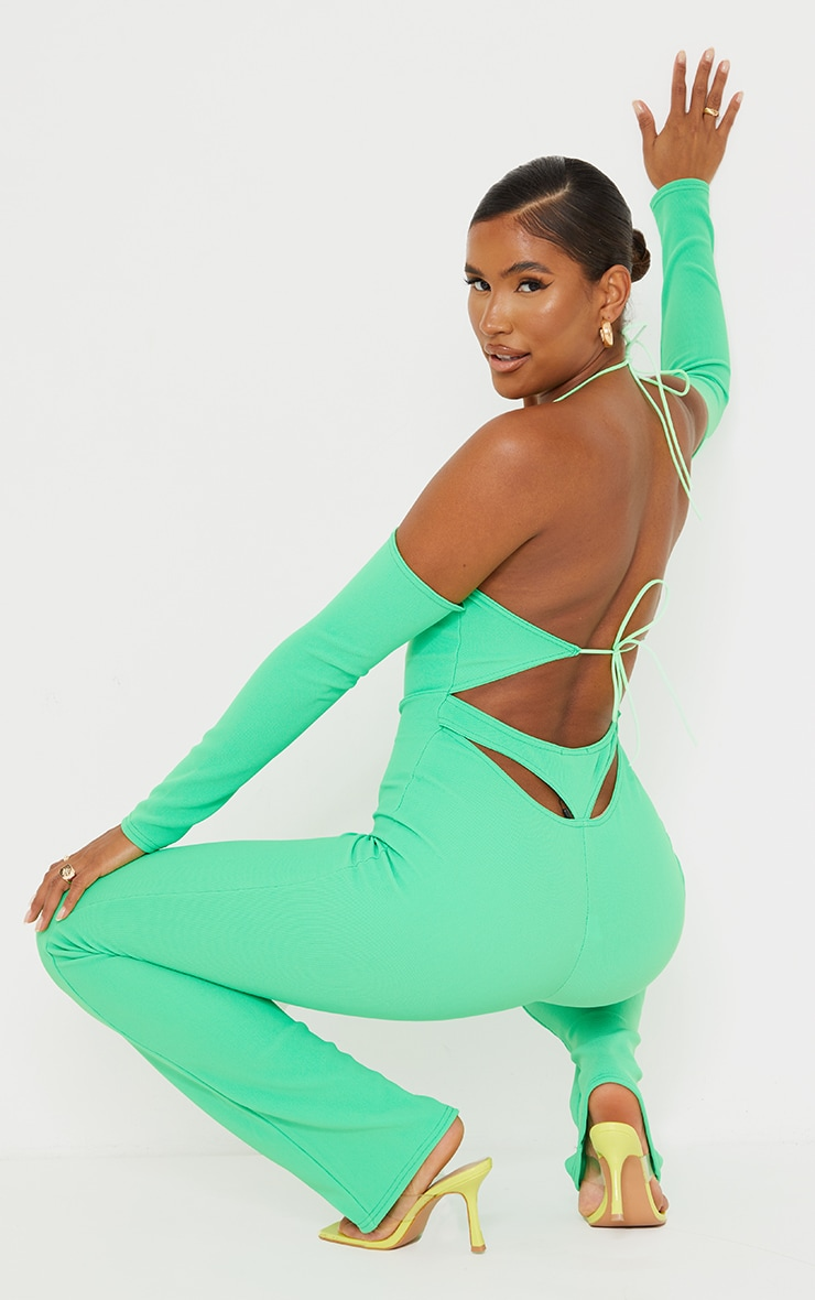 Recycled Bright Green Rib Cowl Neck Long Sleeve Thong Back Jumpsuit 1