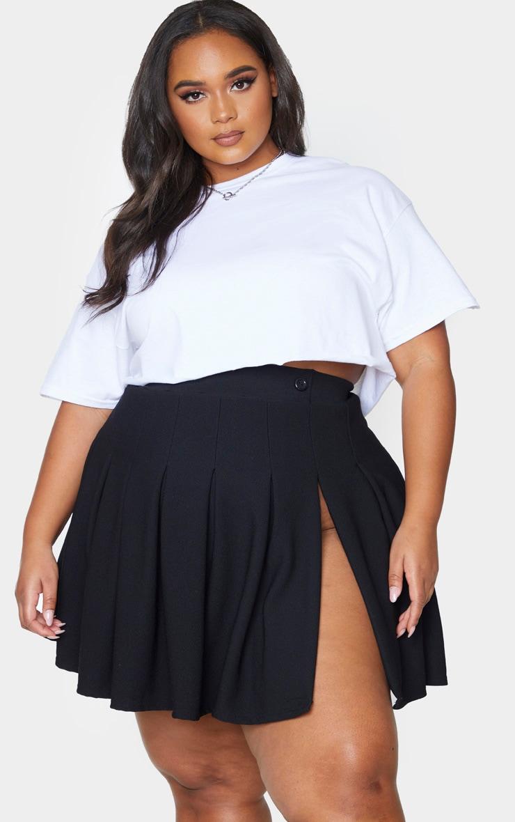 Plus Black Pleated Side Split Tennis Skirt 1