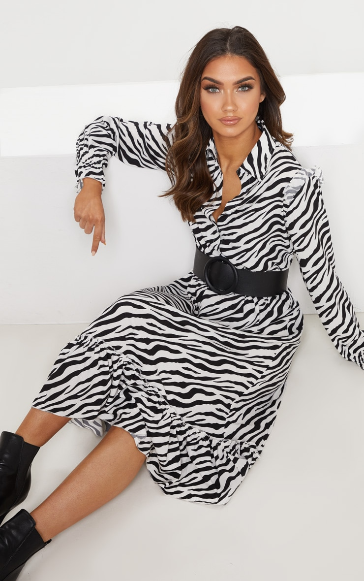 Black Zebra Print Button Front Frill Midi Shirt Dress 5