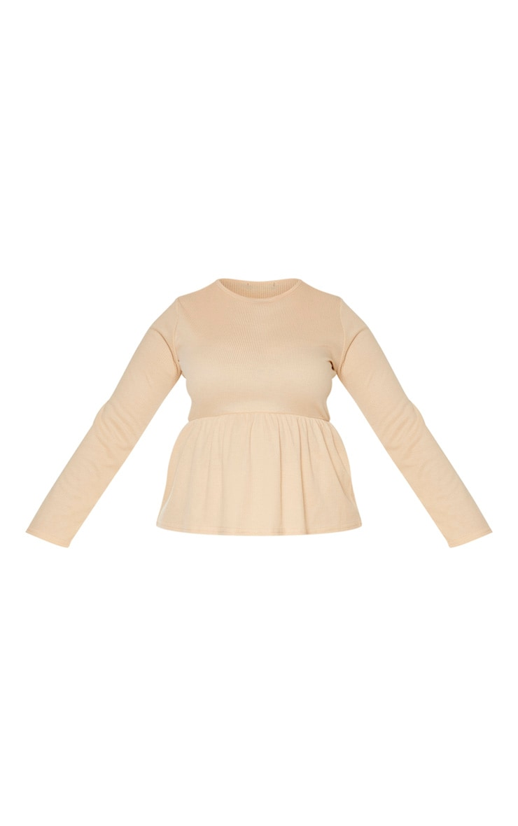 Plus Stone Ribbed Long Sleeve Smock Top 3