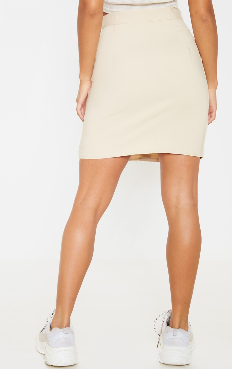 Petite Stone Button Front Aline Skirt 4