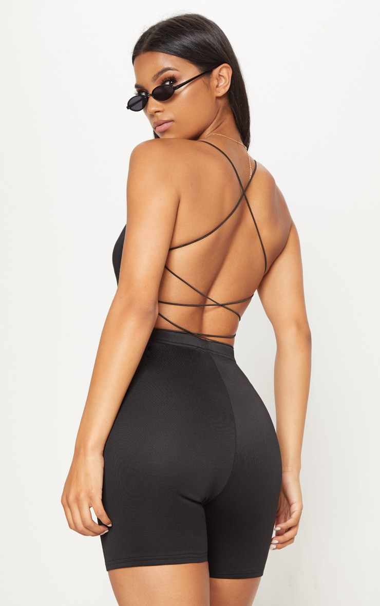 Black Slinky Spaghetti Strap Backless Bodysuit 1