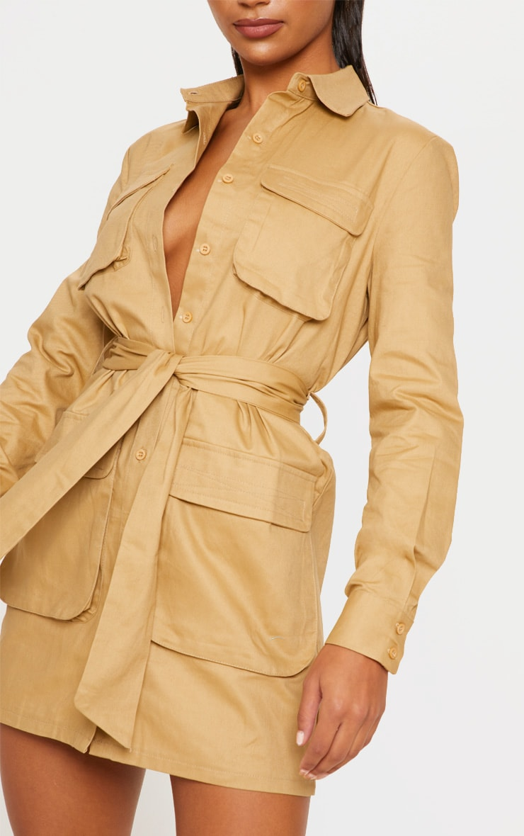 Camel Utility Tie Waist Shirt Dress 5