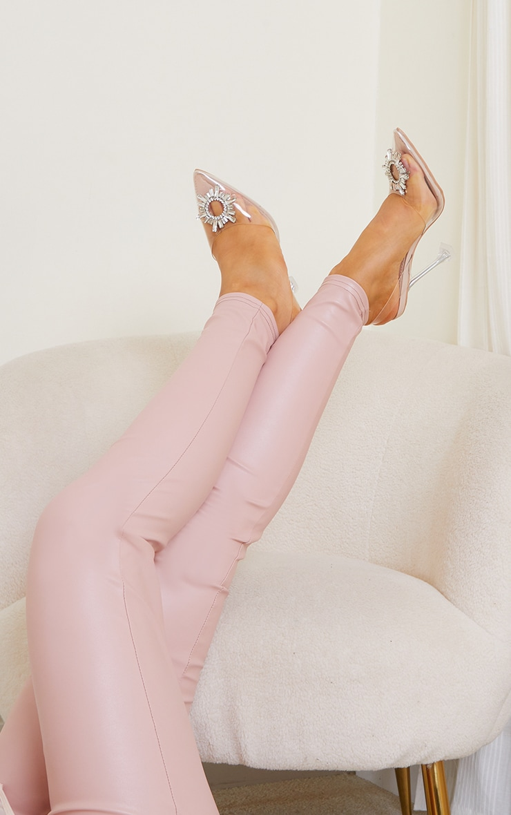 Nude Clear Diamante Sling Back Cake Stand High Heels 1
