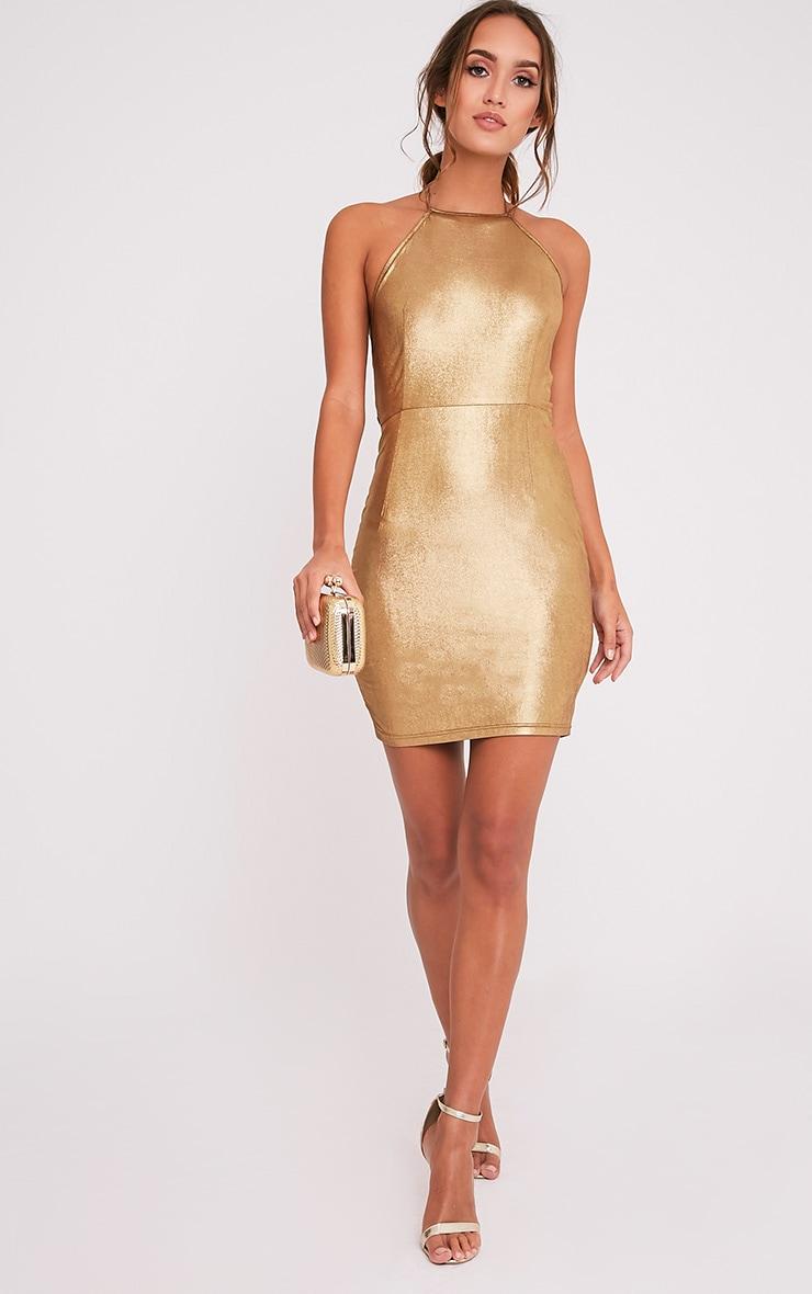 Opia Bronze Shiny Open Back Midi Dress 1