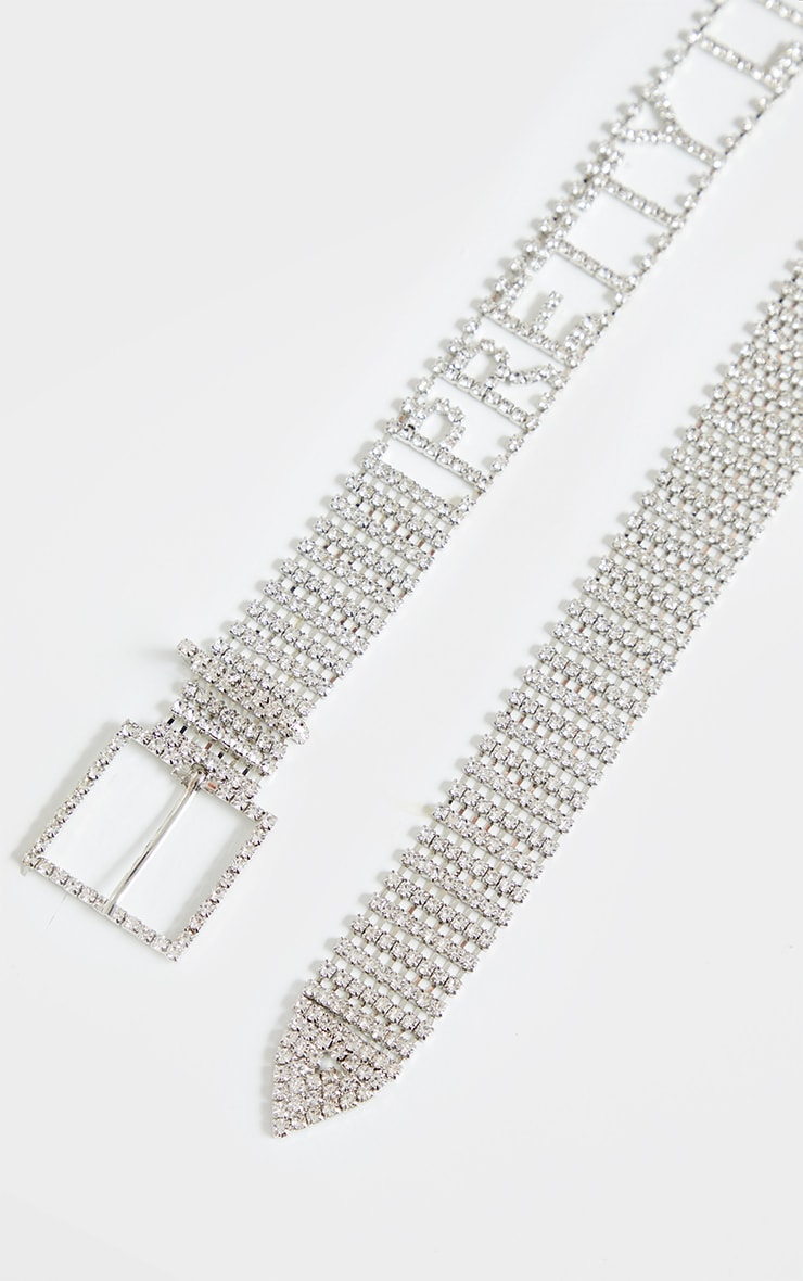 PRETTYLITTLETHING Silver Diamante Belt 2