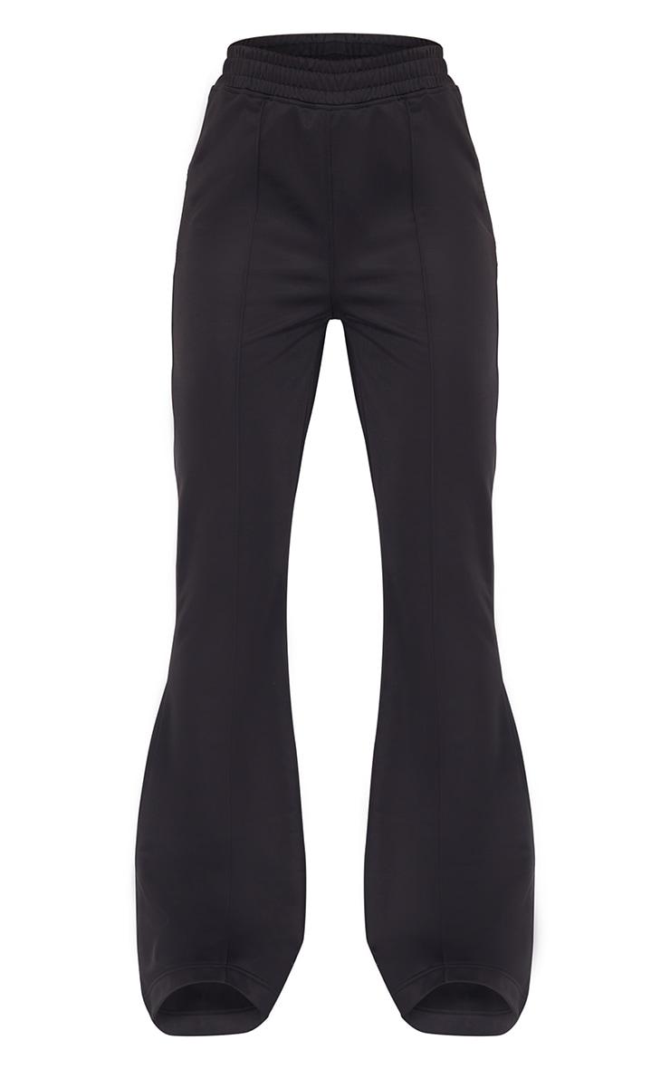 Black Tri Cot Flared Trousers 5