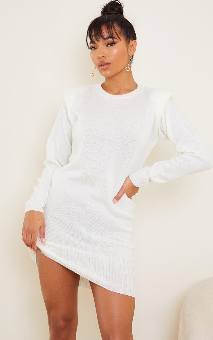 Cream Shoulder Pad Knitted Jumper Dress 1