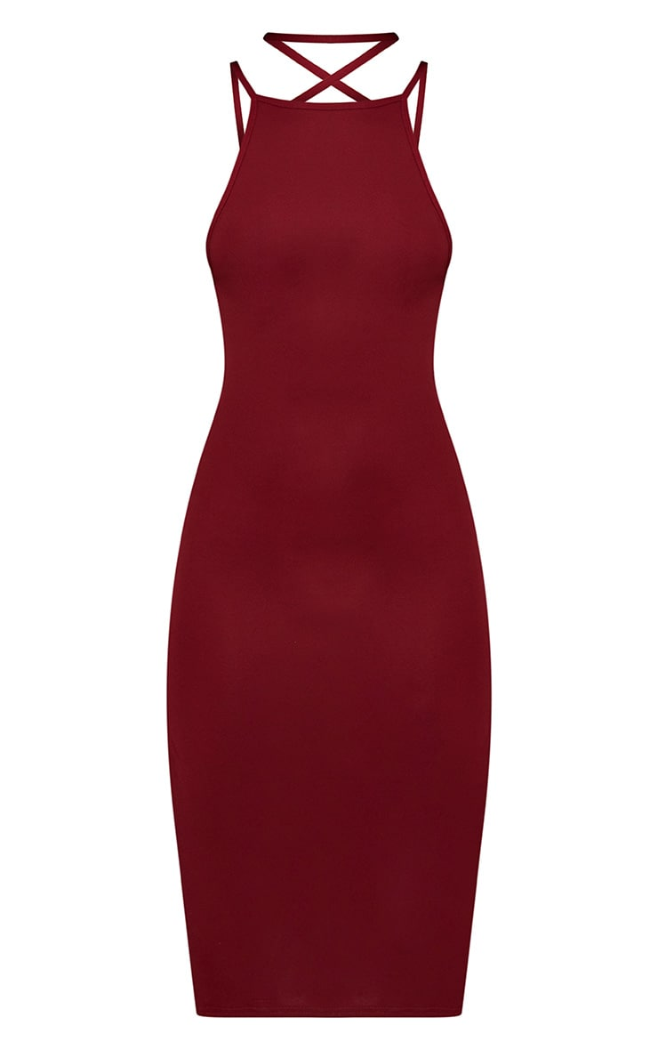 Deep Berry High Neck Extreme Strappy Back Choker Detail Midi Dress 3