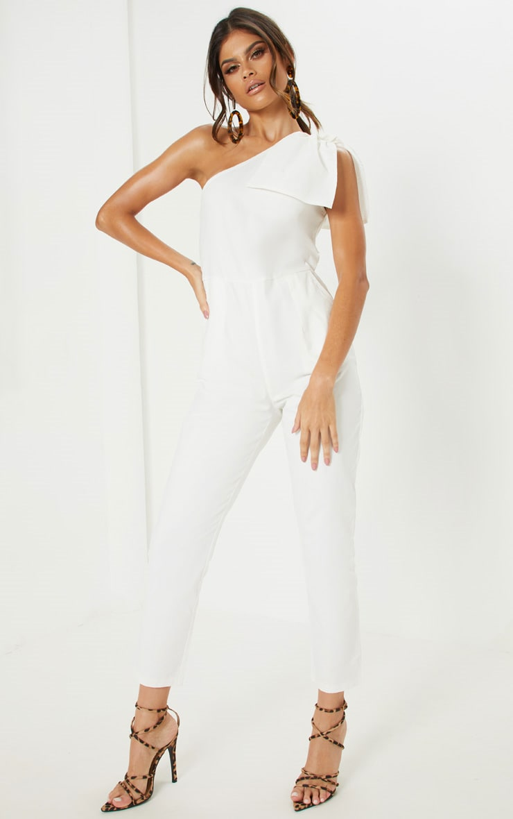 White One Shoulder Woven Sleeveless Jumpsuit 4