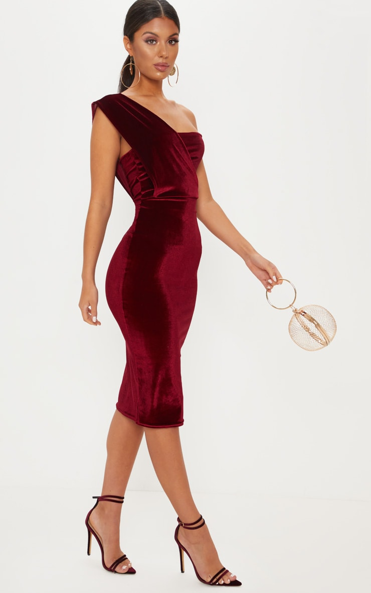 ca9a9324e6 Burgundy Velvet Drape One Shoulder Midi Dress image 1