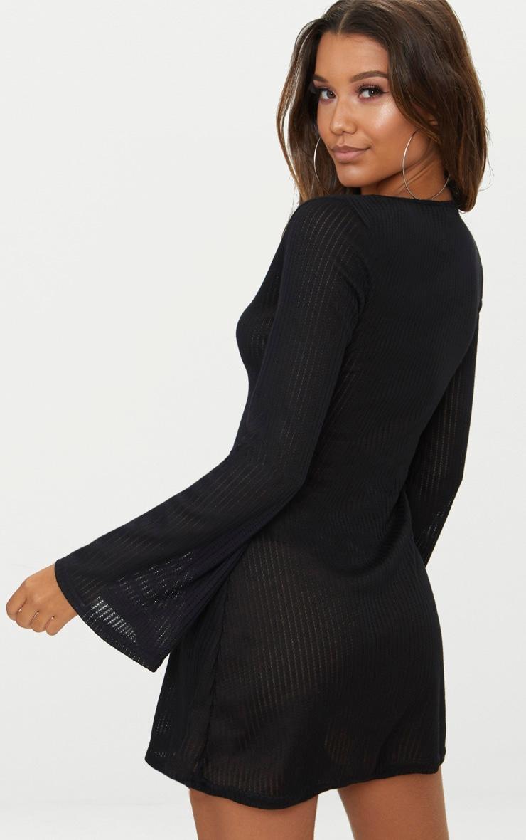 Black Ribbed Flare Sleeve Shift Dress 2