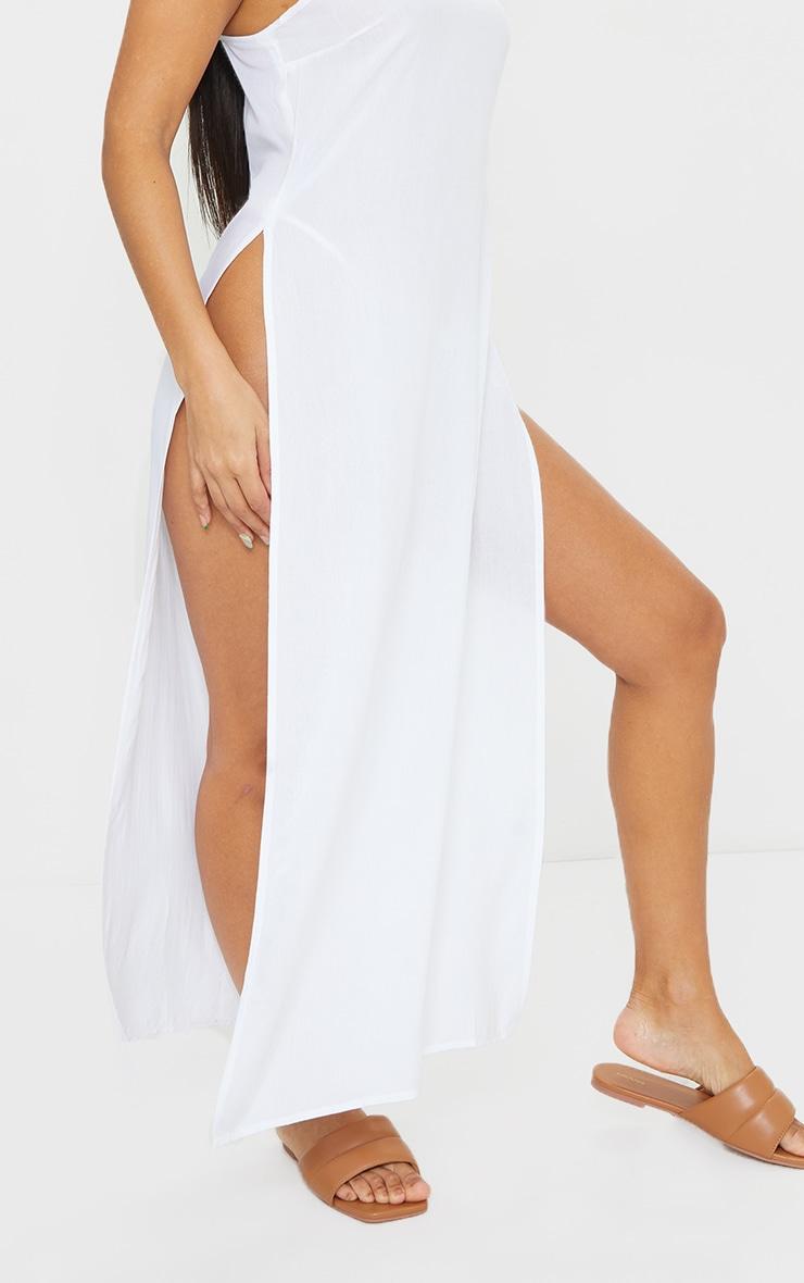White Cotton High Leg Split Maxi Beach Dress 4