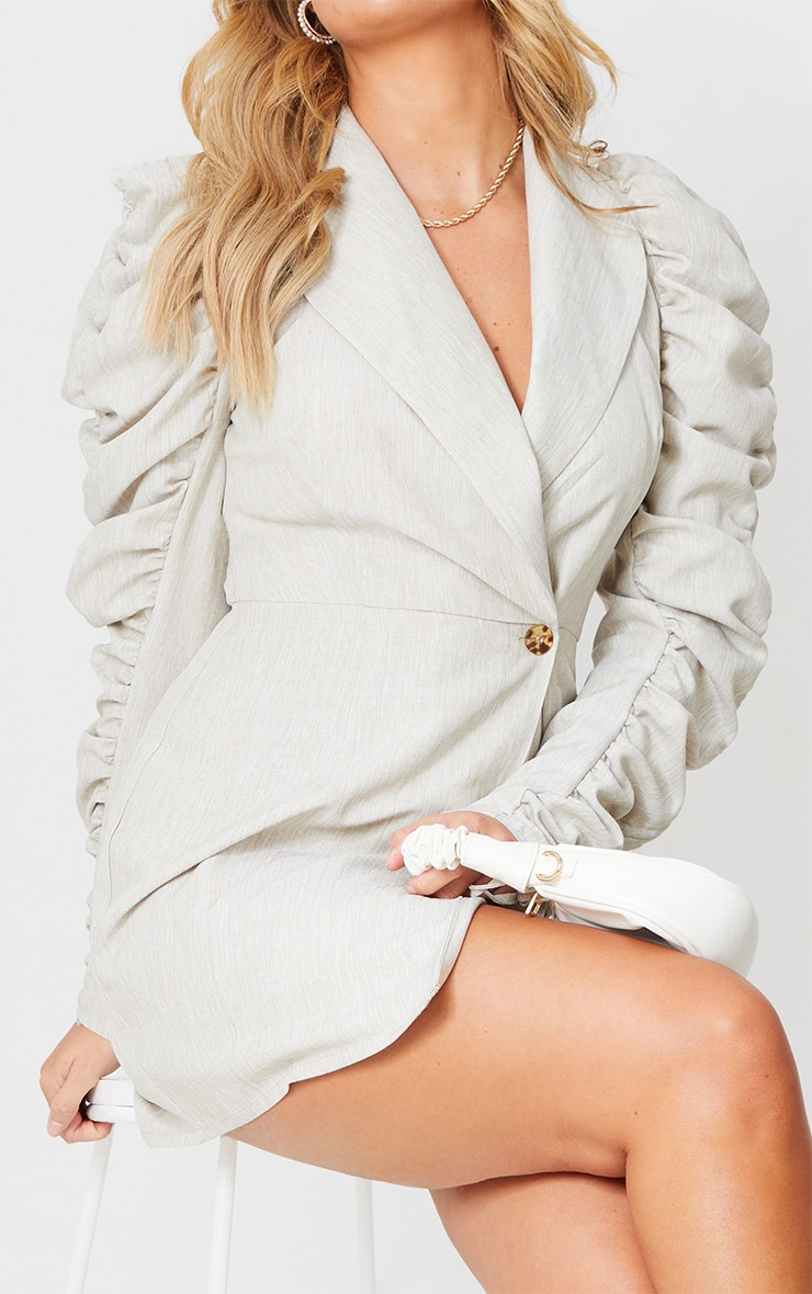 Stone Linen Puff Ruched Sleeve Blazer Style Bodycon Dress 4