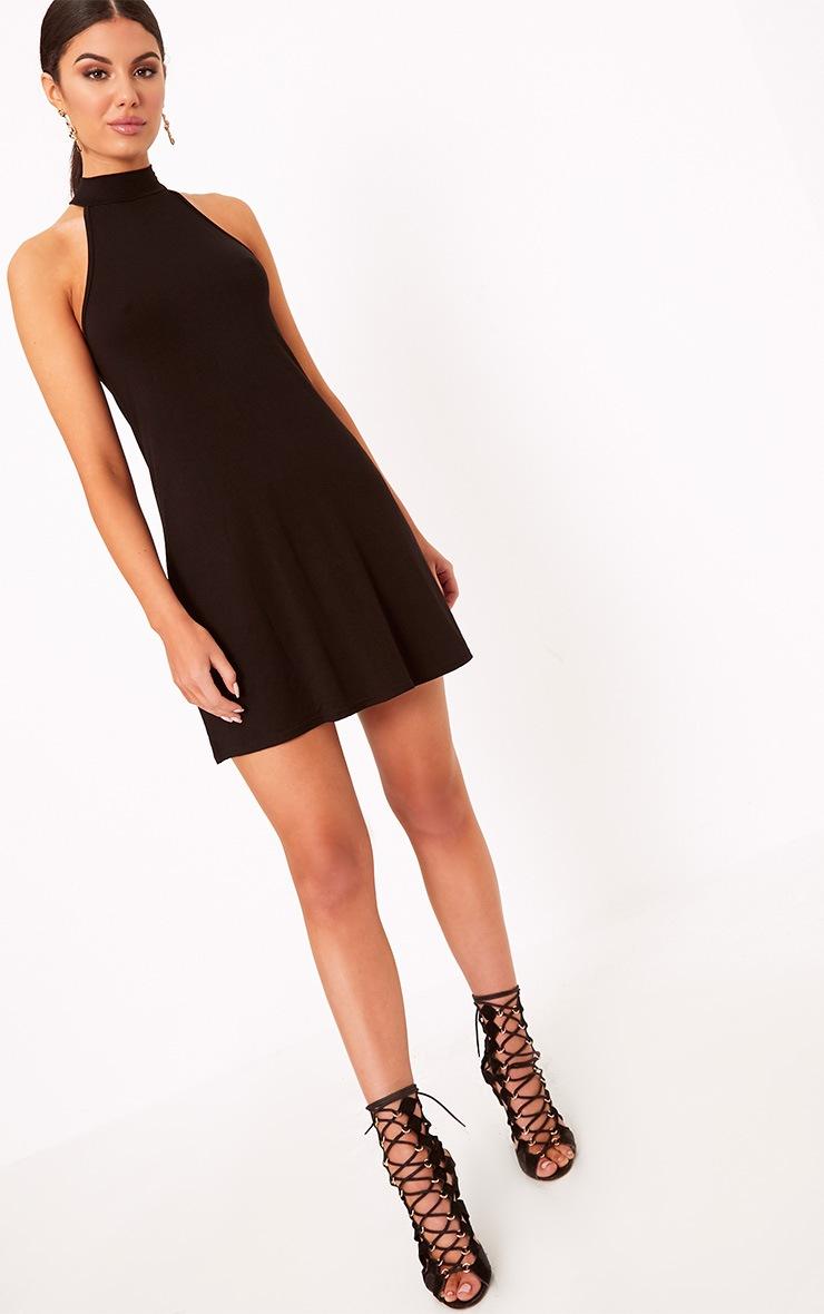 Black Jersey High Neck Swing Dress 4