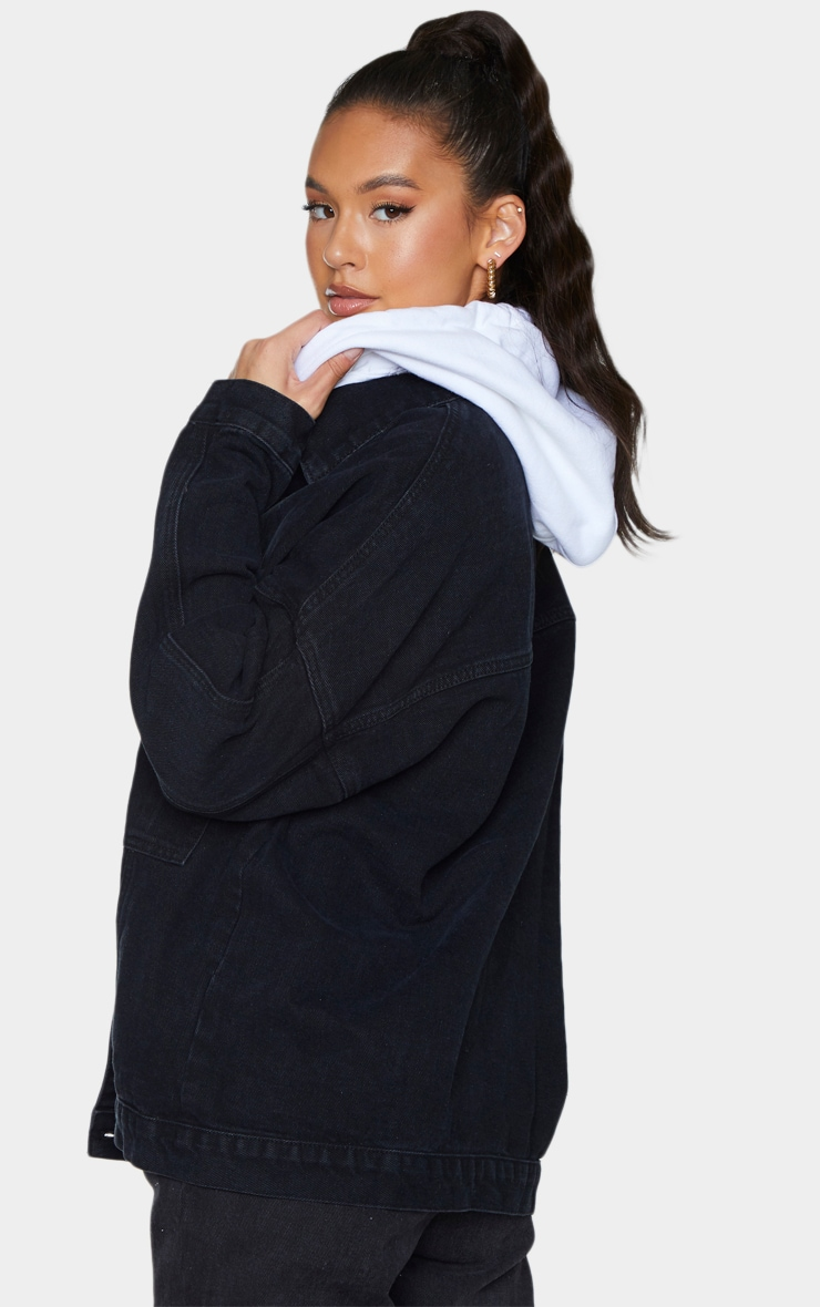 PRETTYLITTLETHING Washed Black Oversized Seam Detail Dad Fit Denim Jacket 2