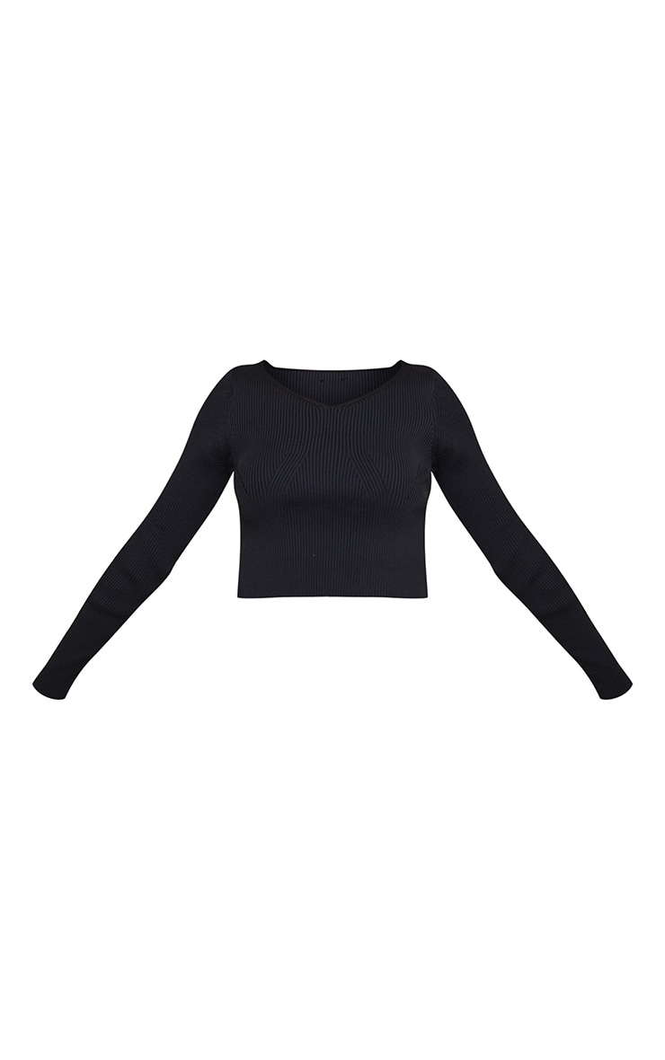 Petite Black Heavy Rib V Neck Crop Top 5