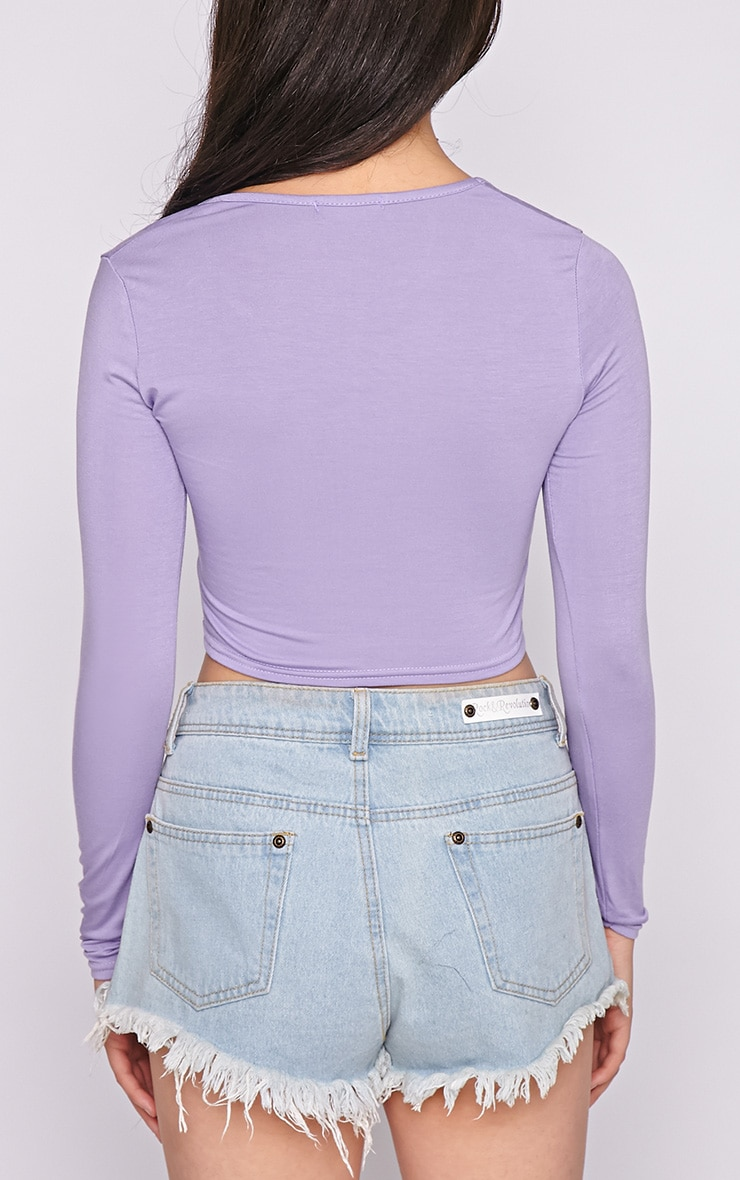 Suzy Lilac Long Sleeved Crop Top  2