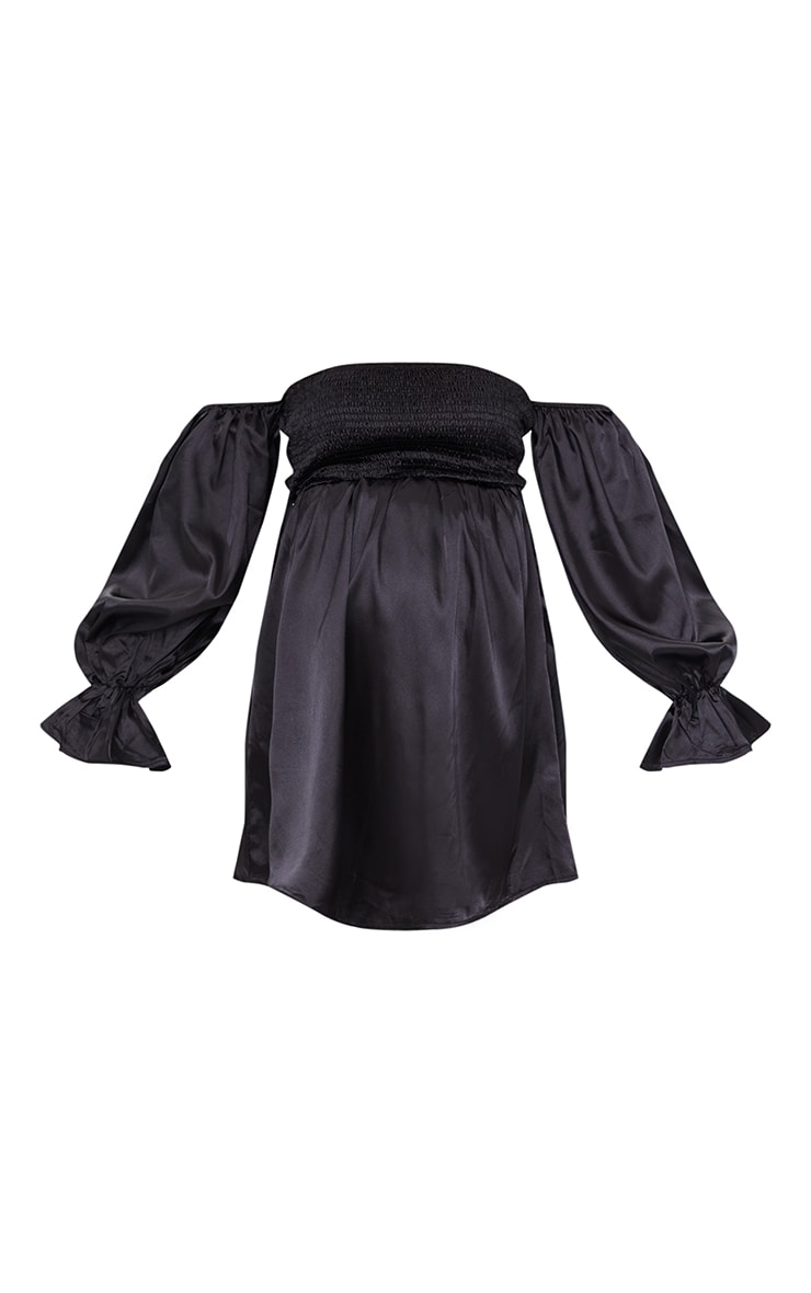 Maternity Black Satin Shirred Mini Dress 5