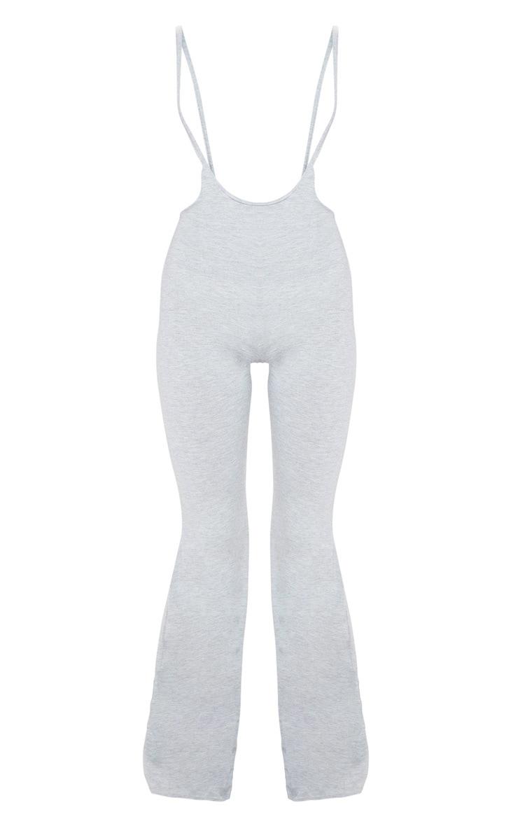 Grey Dungaree Style Flare Leg Pants 3