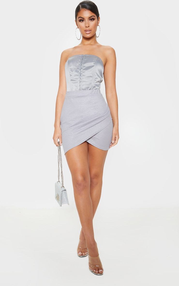 Grey Textured Croc Ruched Detail Mini Skirt 5