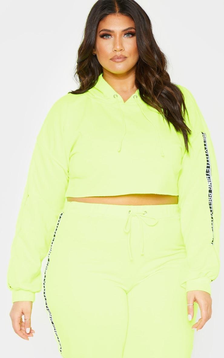 PLT Plus - Hoodie court vert citron fluo PRETTYLITTLETHING 4