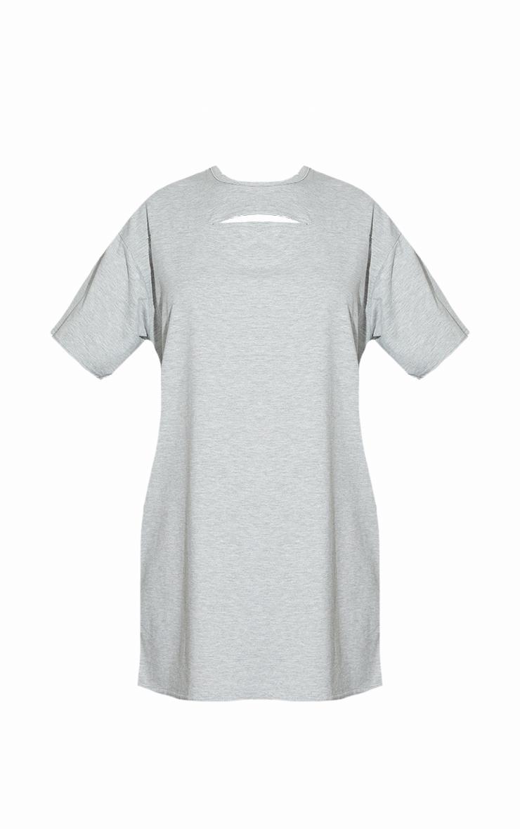 Grey Cut Out Detail Oversized T Shirt Dress 5