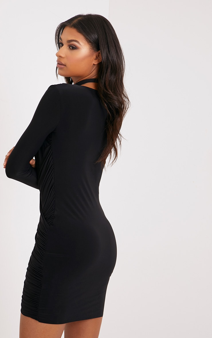 Meeah Black Ruched Plunge Wrap Over Bodycon Dress 2