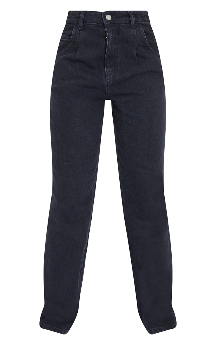 Tall Washed Black Seam Detail Wide Leg Jeans 5