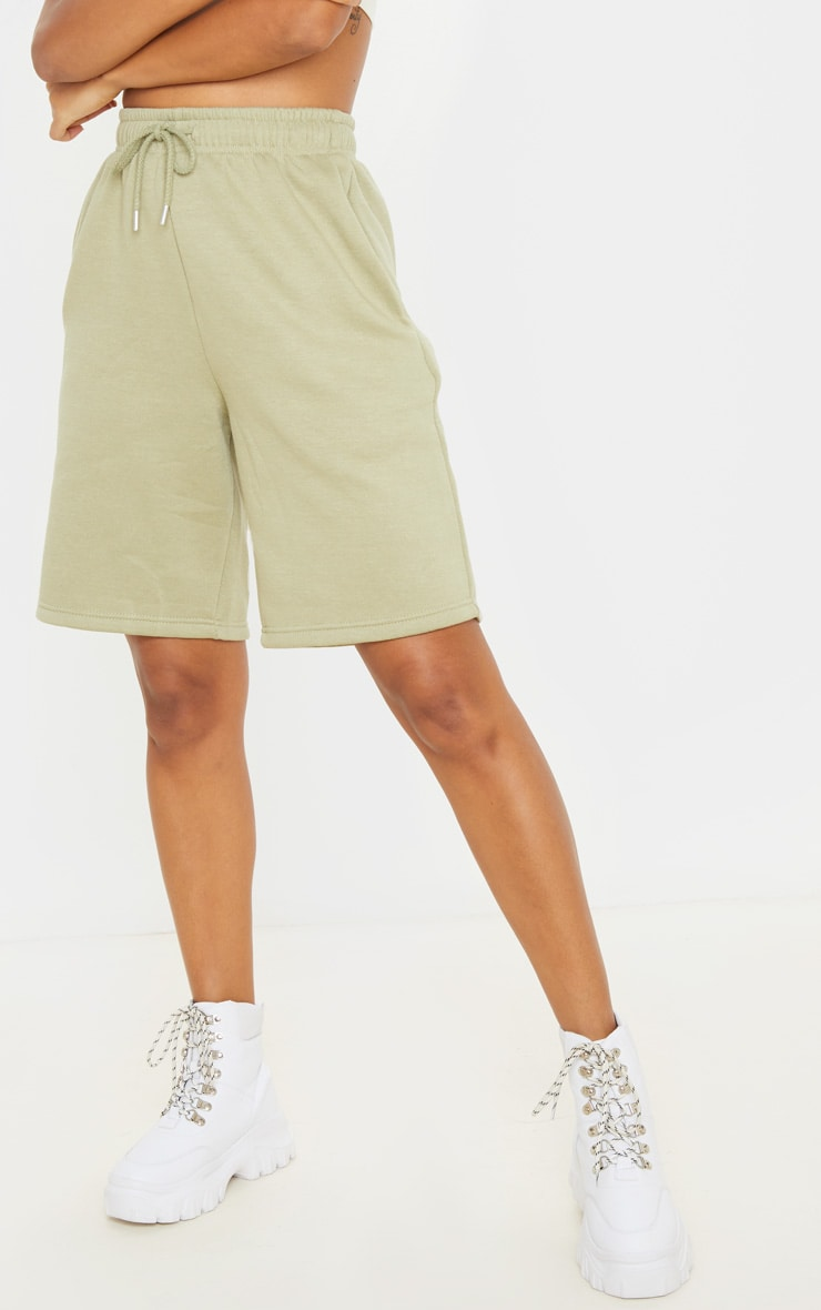 Sage Khaki Drawstring Sweat Longline Shorts 2