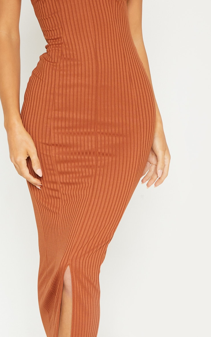 Rust Strappy Plunge Ribbed Midaxi Dress 5