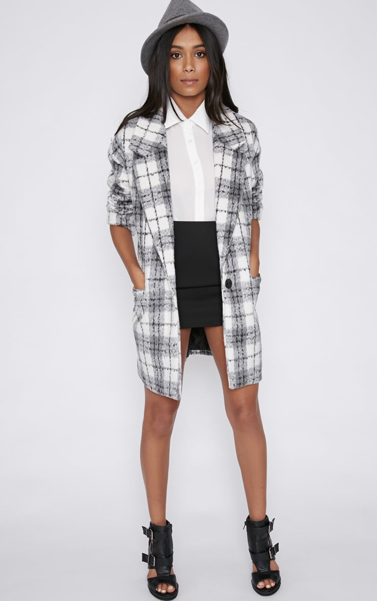 Ramsha Grey Checked Boyfriend Coat 3