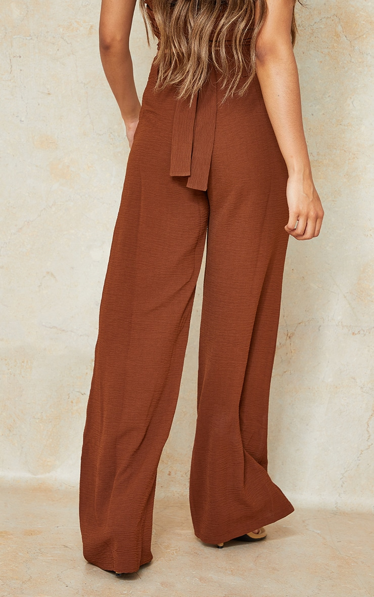 Petite Chocolate High Waisted Pocket Detail Trousers 3