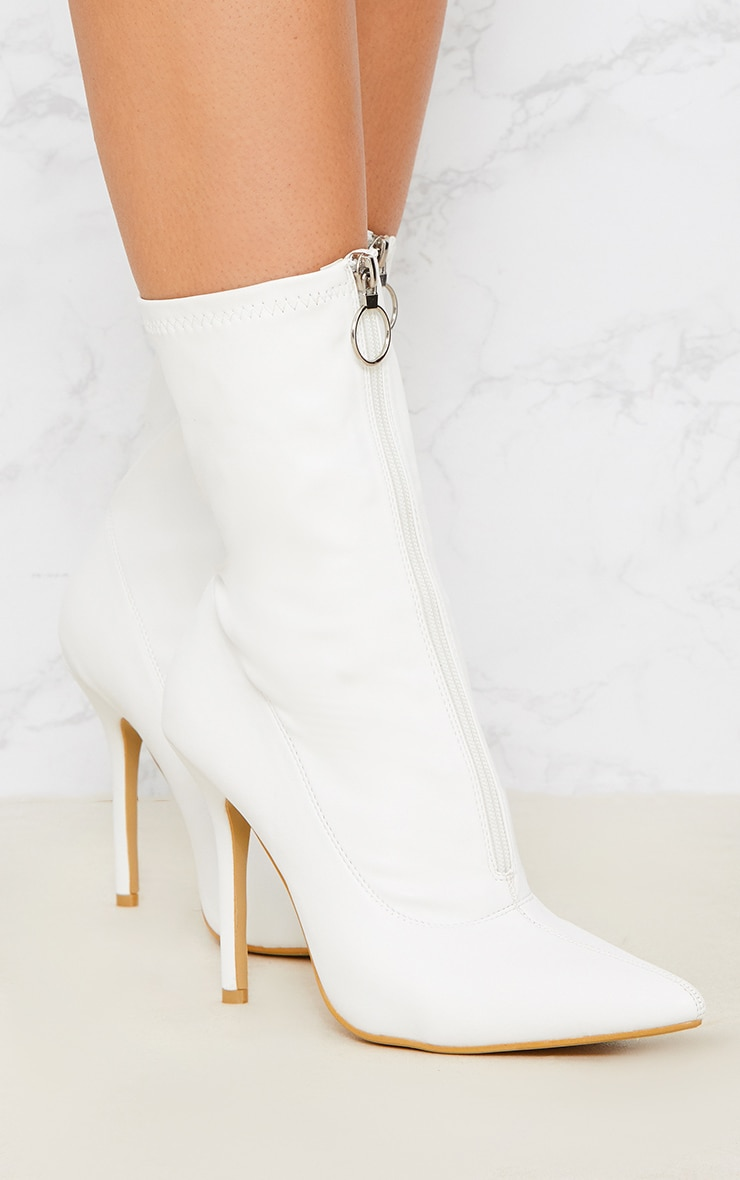 White Zip Front Lycra Sock Boot 1
