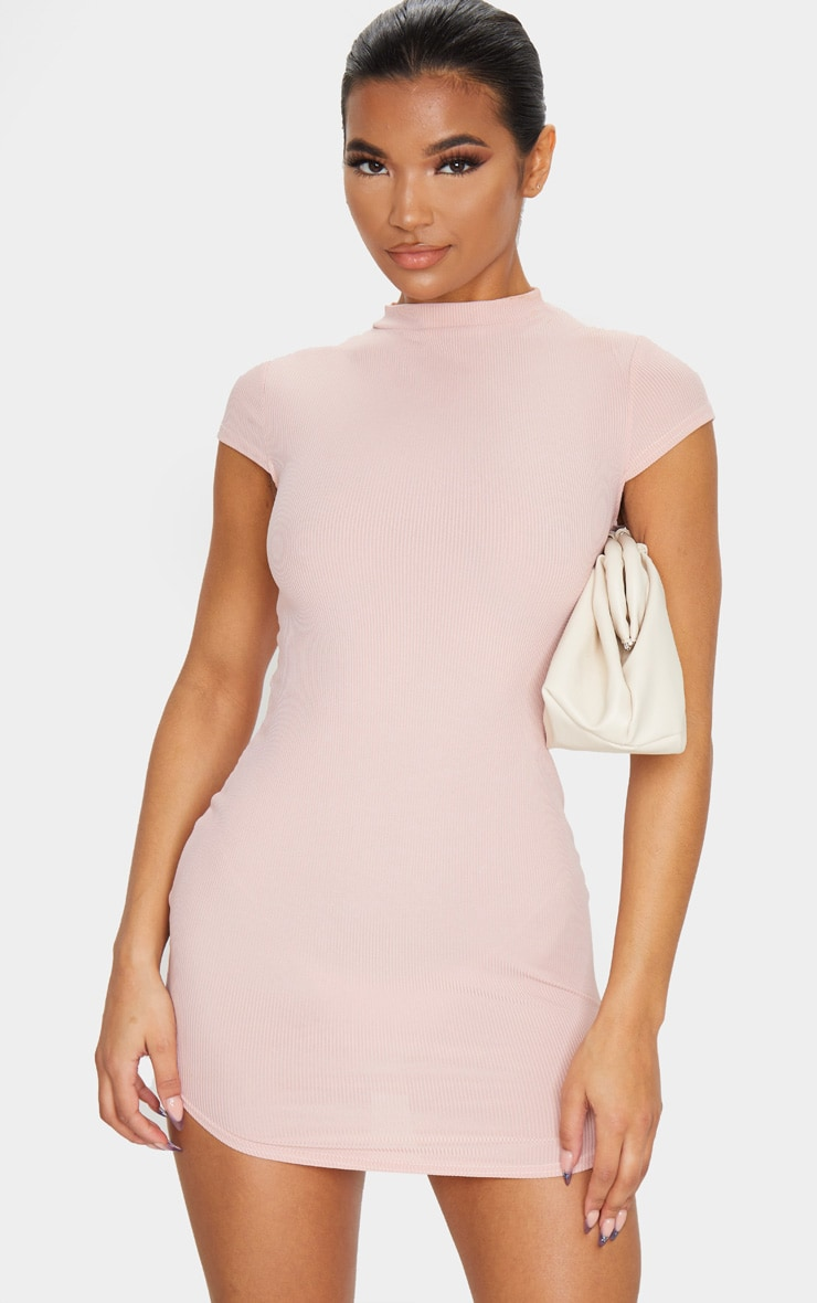 Rose High Neck Ribbed Bodycon Dress 1
