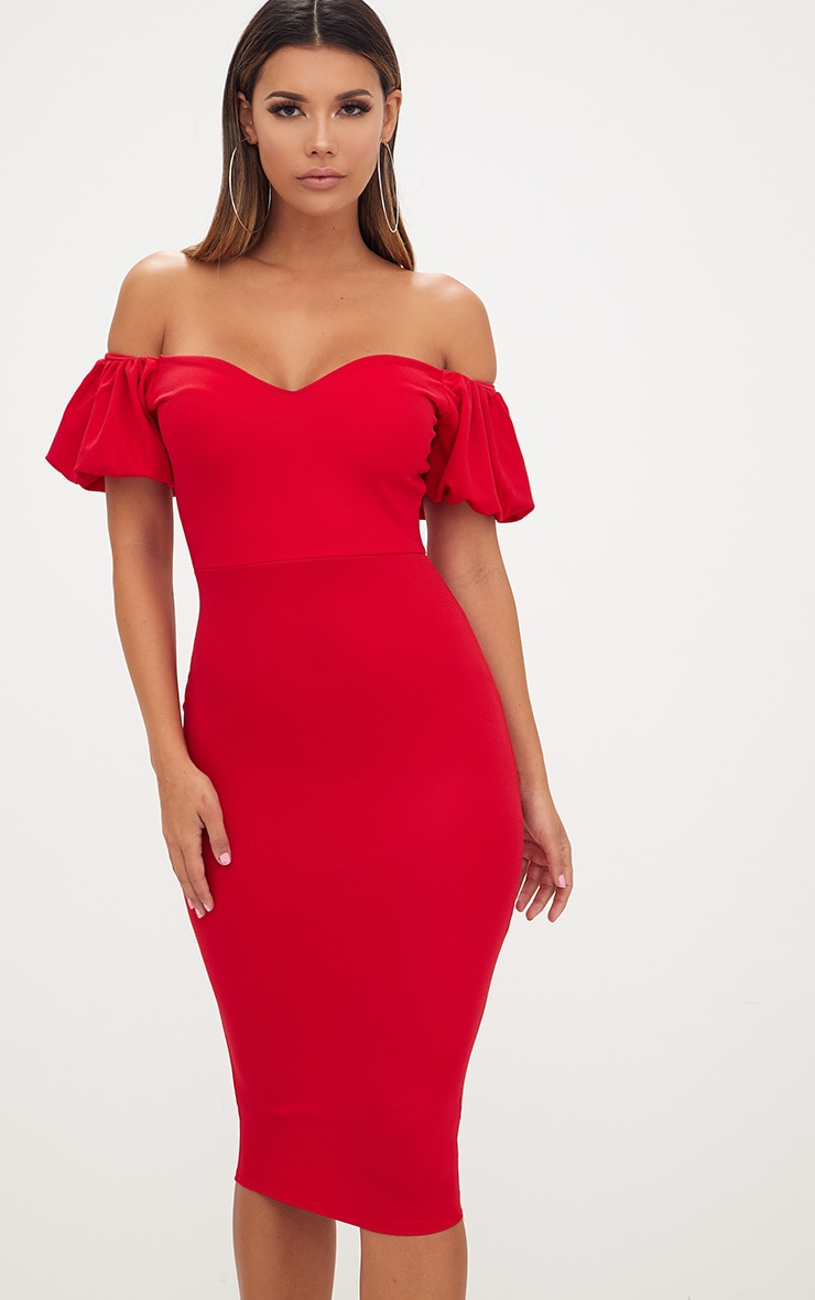 Red Balloon Sleeve Bardot Midi Dress 1