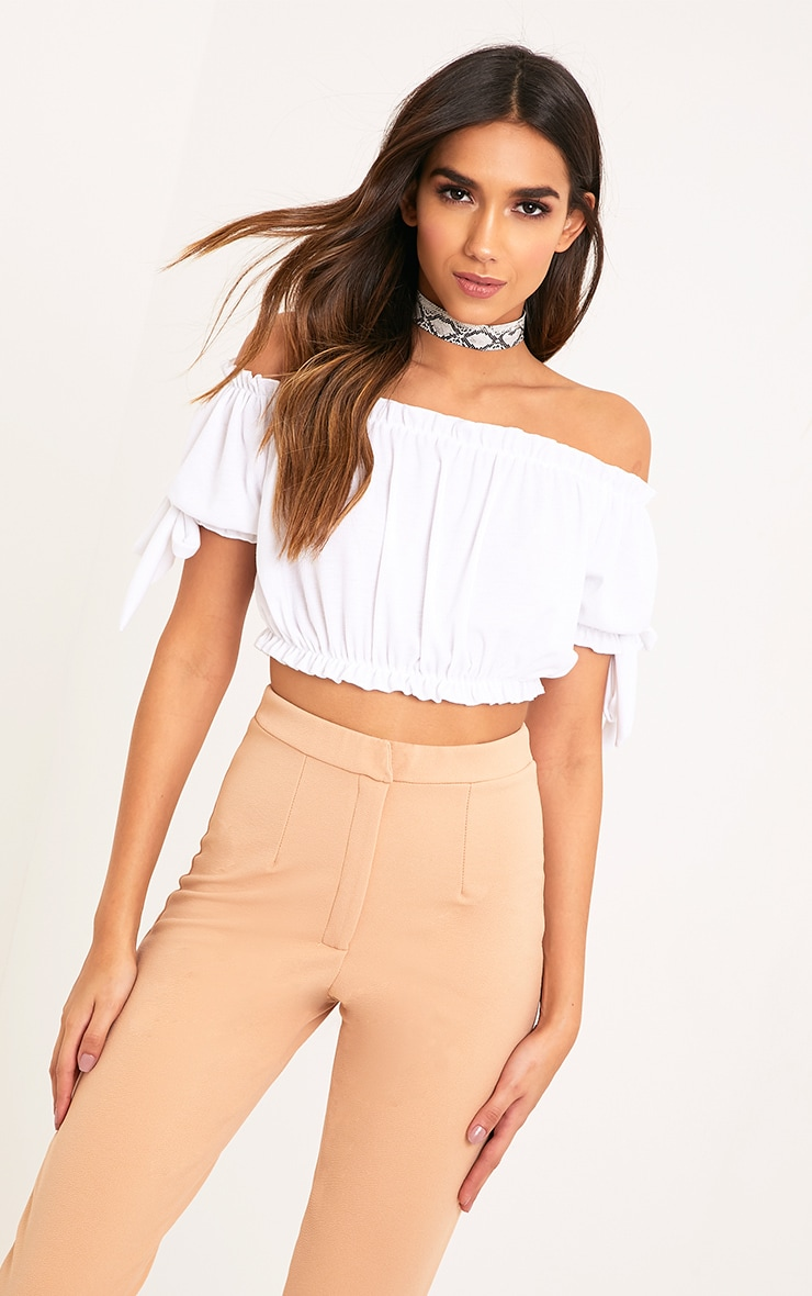 Norah White Bardot Bow Sleeve Jersey Crop Top 1