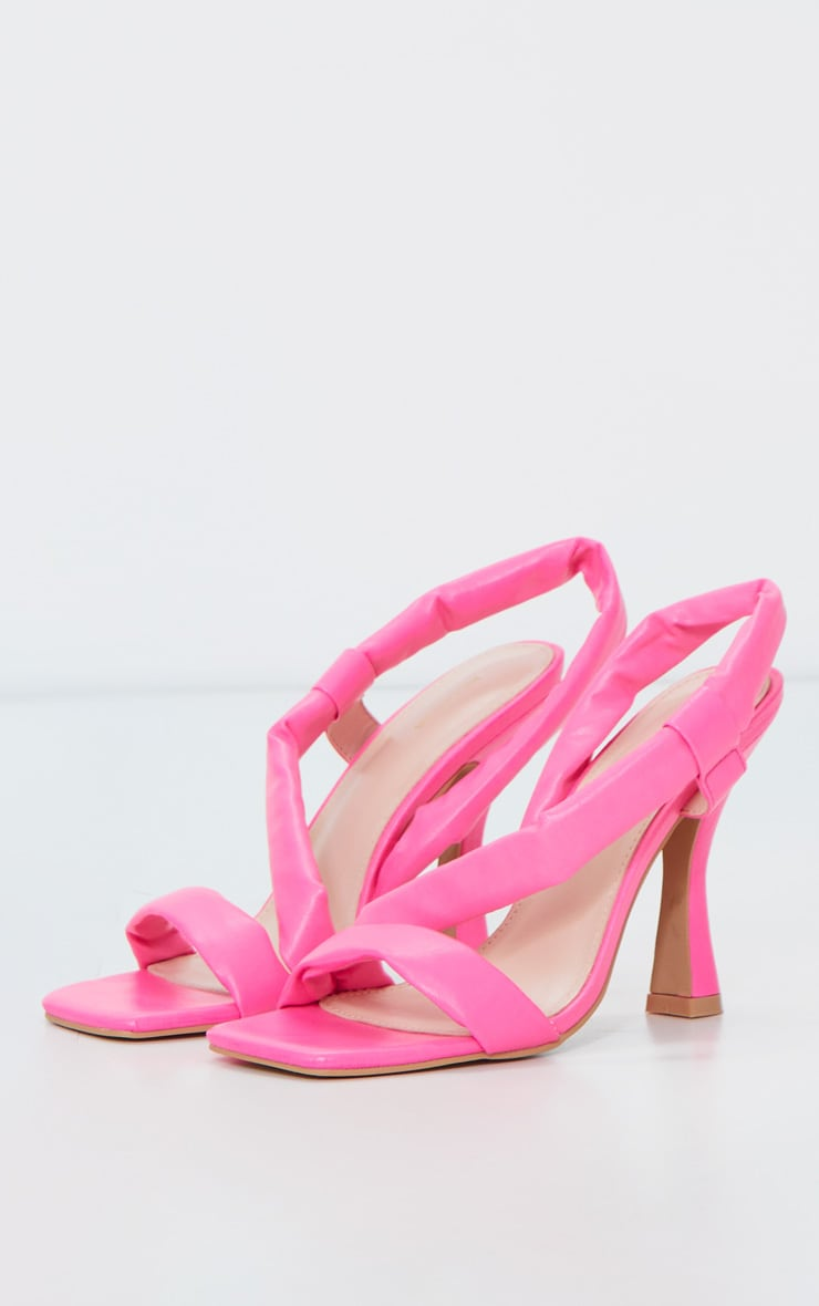 Neon Pink Square Toe Low Flare Heel Sandals 3
