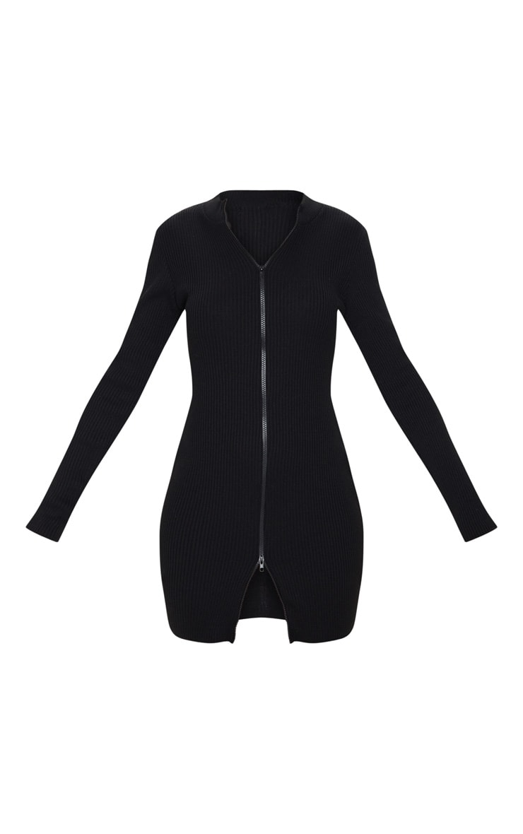 Black Double Ended Zip Knitted Dress 5