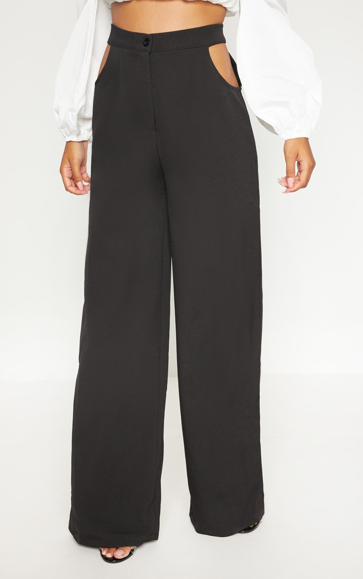 Black Cut Out Detail Wide Leg Pants 2