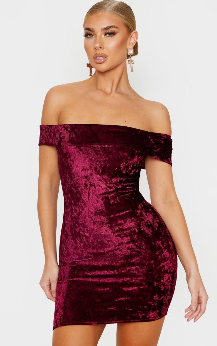 Burgundy Velvet Bardot Bodycon Dress 1