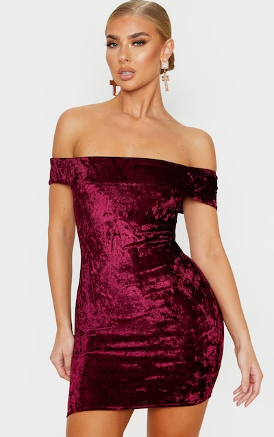 Burgundy Velvet Bardot Bodycon Dress