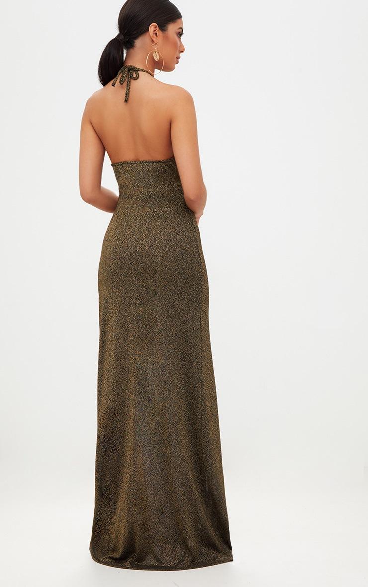 Gold Glitter Lurex Halterneck Maxi Dress 2