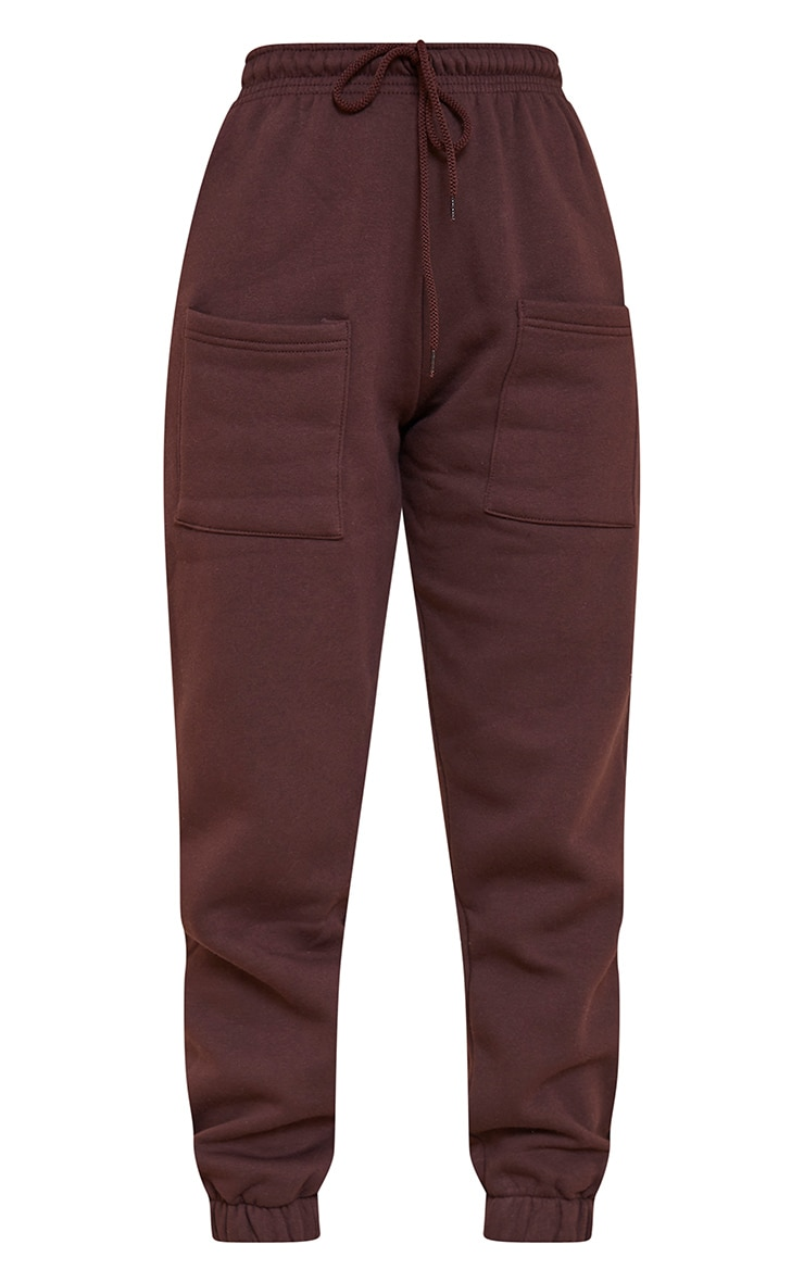 Chocolate Brown Pocket Thigh Casual Joggers 5