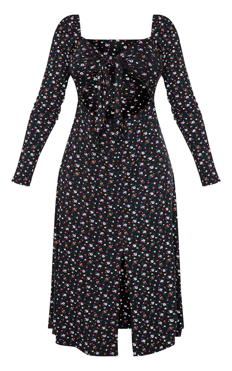 Petite Black Ditsy Print Balloon Sleeve Tie Front Swing Dress 5