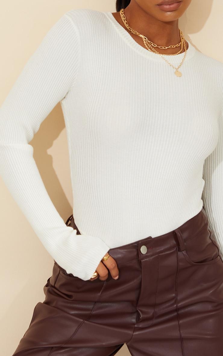 Body en maille tricot côtelée crème à manches longues 4